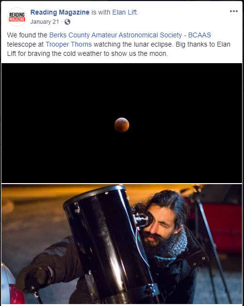 1/21/2019 Lunar Eclipse with Reading Magazine with Elan Lift